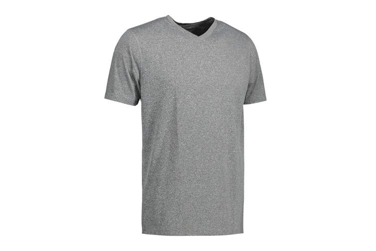 ID Mens Yes Functional Active Short Sleeve Fitted V-Neck T-shirt (Grey Melange) (XS)