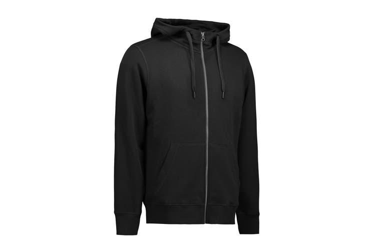 ID Unisex Core Full Zip Hoodie (Black) (M)
