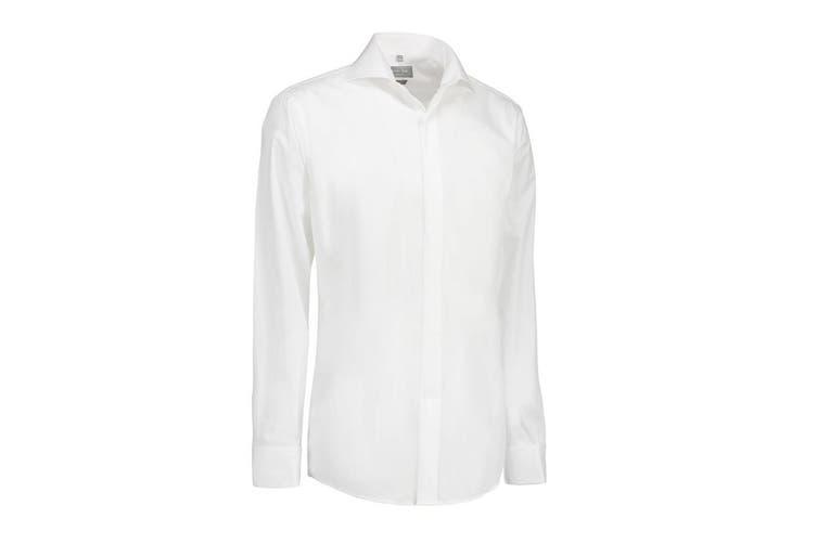 ID Womens/Ladies Poplin Shirt Tuxedo Long Sleeve Slim Fit (White) (L)
