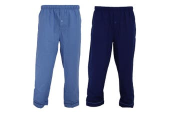 Walter Grange Mens Traditional Pyjama Bottoms Twin Pack (Navy/Blue)