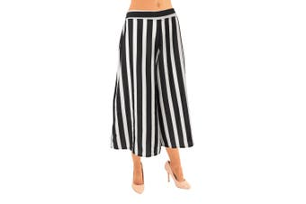 Lili London Womens/Ladies Wide Leg Culottes (Black/White Stripe) - UTJ190