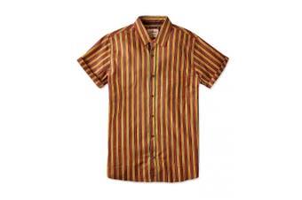 Joe Browns Mens Sunshine Stripe Shirt (Mustard/Rust) - UTJB145