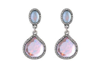 Sparkle Womens/Ladies Iridescent Drop Earrings (Pink/White/Silver) (One Size)