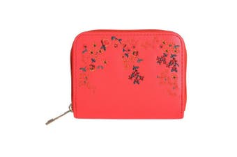 Jewelcity Womens/Ladies Embroidered Floral Purse (Red) (One Size)