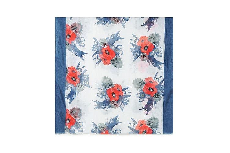 Jewelcity Womens/Ladies Poppy Print With Ladder Effect Scarf (Navy) (One Size)