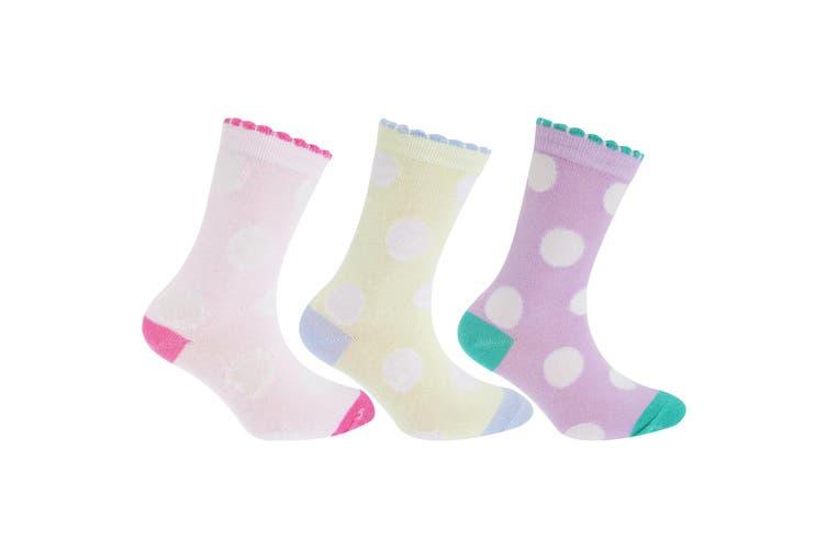 Childrens Girls Polka Dot Patterned Socks (Pack Of 3) (Lilac/Yellow/Pink) (UK Child 9-12  EUR 26-31)