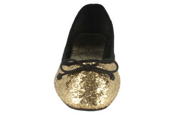 Star Womens/Ladies Glitter Bow Square Toe Ballet Shoes (Gold) (3 UK)
