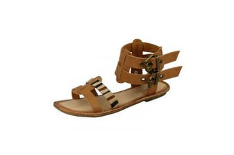 Savannah Womens/Ladies Low Gladiator Sandals With Double Buckle Ankle Strap (Tan)