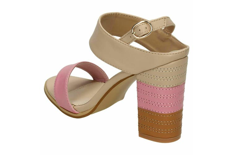 Spot On Womens/Ladies Stitched Buckle Ankle High Heels (Pink) (6 UK)