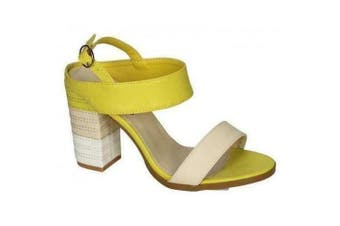 Spot On Womens/Ladies Stitched Buckle Ankle High Heels (Yellow) (7 UK)