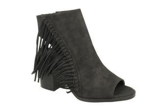 Spot On Womens/Ladies Open Ankle Boots With Tassels (Black) (UK Size 6)