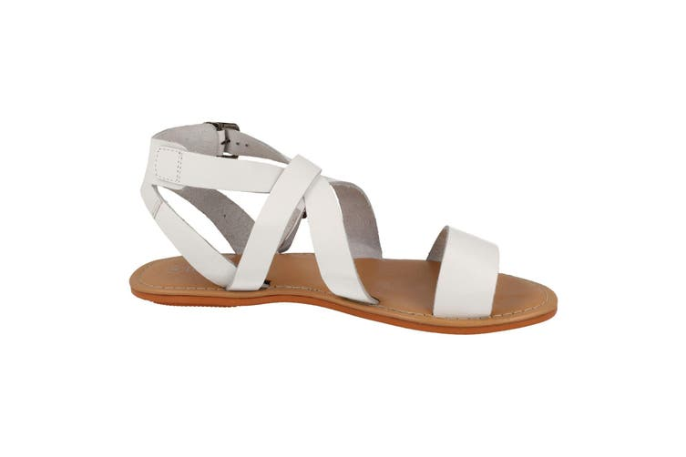 Leather Collection Womens/Ladies Summer Strappy Sandals (White Leather) (UK Size 6)