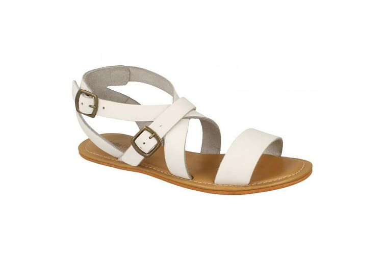 Leather Collection Womens/Ladies Summer Strappy Sandals (White Leather) (UK Size 7)