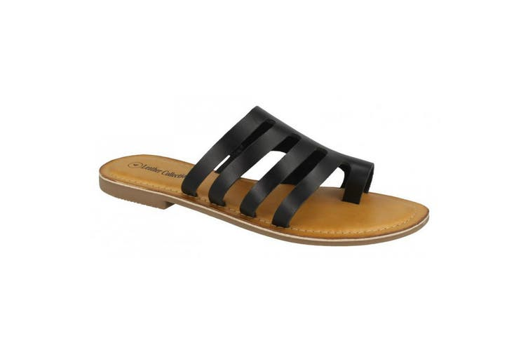 Leather Collection Womens/Ladies Flat Strappy Sandals (Black Leather) (UK Size 6)