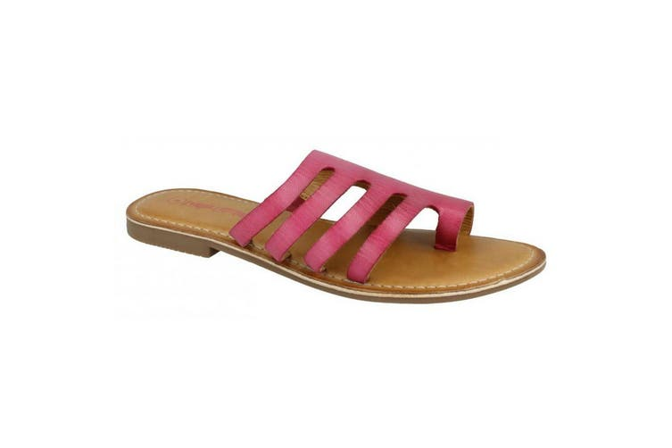 Leather Collection Womens/Ladies Flat Strappy Sandals (Fuchsia Leather) (UK Size 7)