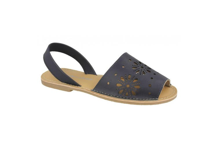 Leather Collection Womens/Ladies Flat Flower Design Mule Sandals (Navy Leather) (UK Size 6)