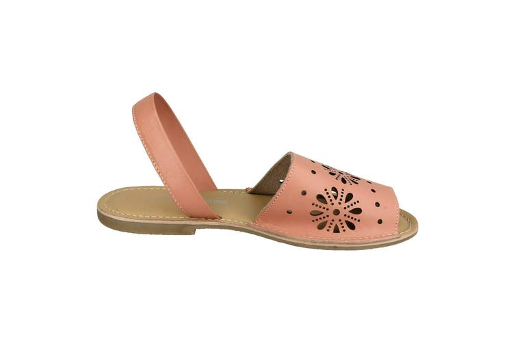 Leather Collection Womens/Ladies Flat Flower Design Mule Sandals (Pink Leather) (UK Size 5)