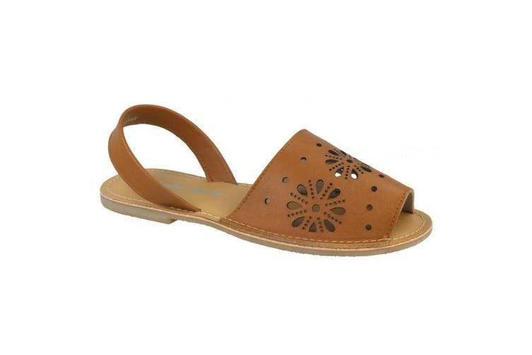 Leather Collection Womens/Ladies Flat Flower Design Mule Sandals (Tan Leather) (UK Size 6)