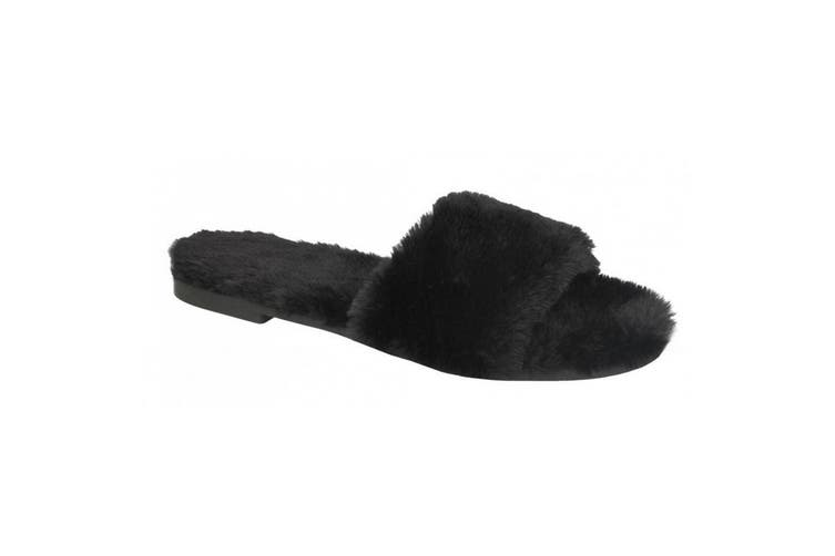 Savannah Womens/Ladies Faux Fur Sliders (Black Textile) (UK Size 4)