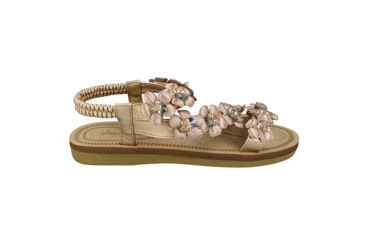 Savannah Womens/Ladies Flower Trim Strap Sandals (Rose Gold Synthetic) (UK Size 6)