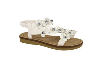 Savannah Womens/Ladies Flower Trim Strap Sandals (White Synthetic) (UK Size 7)