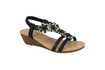 Savannah Womens/Ladies Mid Wedge Slingback Flower Trim Vamp Sandals (Black Synthetic) (UK Size 6)
