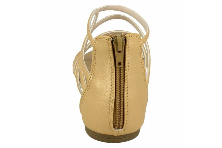 Spot On Womens/Ladies Leather Strappy Sandal (Gold Synthetic) (UK Size 6)