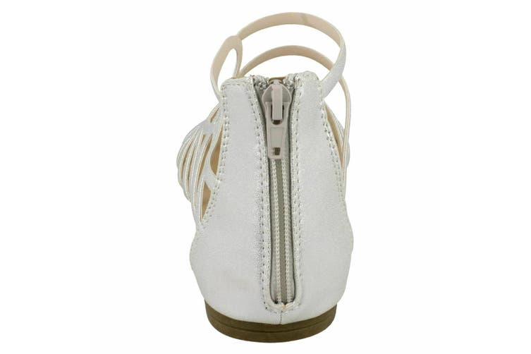 Spot On Womens/Ladies Leather Strappy Sandal (Silver Synthetic) (UK Size 6)