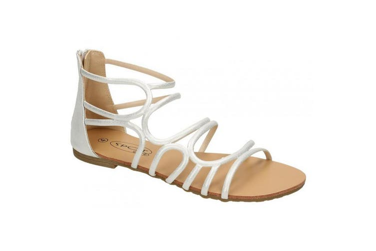Spot On Womens/Ladies Leather Strappy Sandal (Silver Synthetic) (UK Size 4)