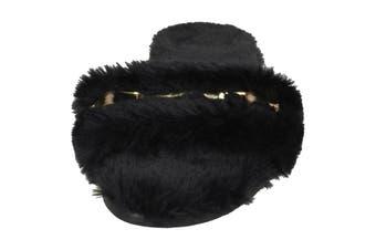 Spot On Womens/Ladies Flat Faux Fur Mule Sliders (Black Textile) (UK Size 6)