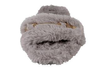 Spot On Womens/Ladies Flat Faux Fur Mule Sliders (Grey Textile) (UK Size 5)