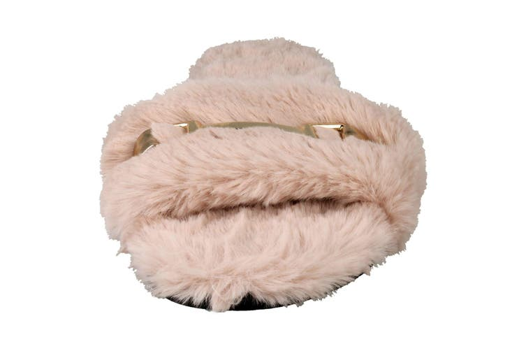 Spot On Womens/Ladies Flat Faux Fur Mule Sliders (Pink Textile) (UK Size 7)