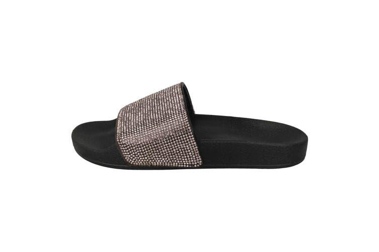 Spot On Womens/Ladies Mid Platform Diamante Mule Sliders (Pewter/Black Textile) (UK Size 5)