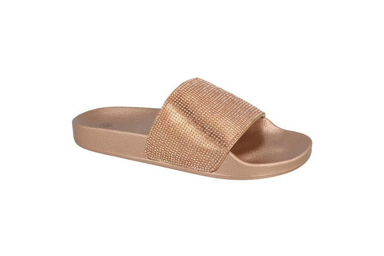 Spot On Womens/Ladies Mid Platform Diamante Mule Sliders (Rose Gold Textile) (UK Size 7)