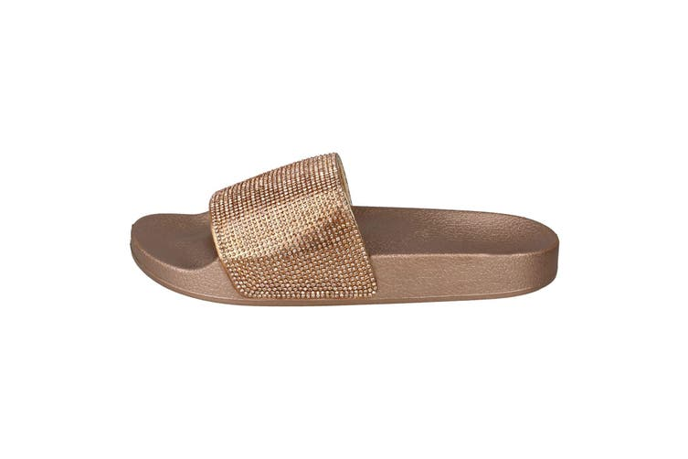 Spot On Womens/Ladies Mid Platform Diamante Mule Sliders (Rose Gold Textile) (UK Size 4)