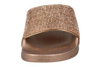 Spot On Womens/Ladies Mid Platform Diamante Mule Sliders (Rose Gold Textile) (UK Size 5)