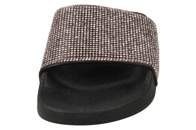 Spot On Womens/Ladies Mid Platform Diamante Mule Sliders (Pewter/Black Textile) (UK Size 6)