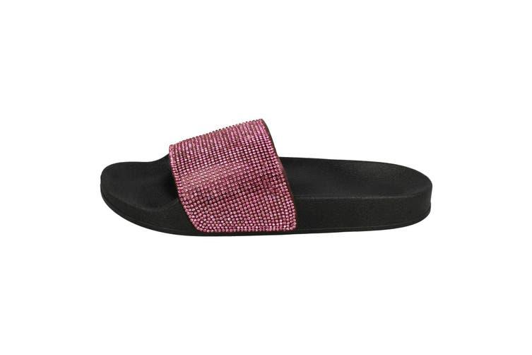 Spot On Womens/Ladies Mid Platform Diamante Mule Sliders (Fuchsia/Black Textile) (UK Size 6)