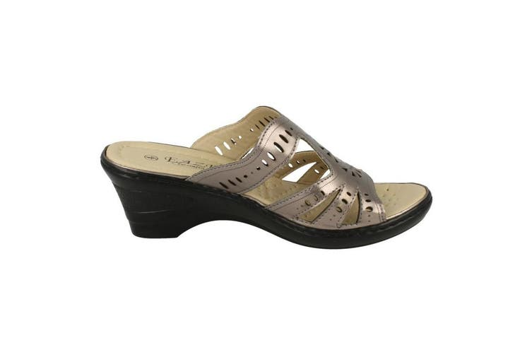 Eaze Womens/Ladies Slip On Wedge Mules (Pewter) (6 UK)