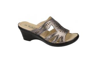 Eaze Womens/Ladies Slip On Wedge Mules (Pewter) (7 UK)