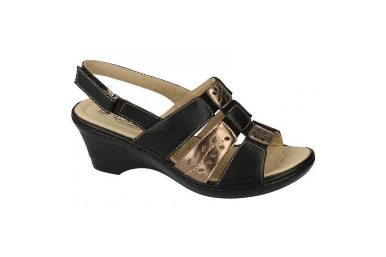 Eaze Womens/Ladies Sling Back Heeled Sandals (Black/Bronze) (5 UK)