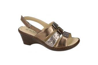 Eaze Womens/Ladies Sling Back Heeled Sandals (Bronze/Pewter) (7 UK)