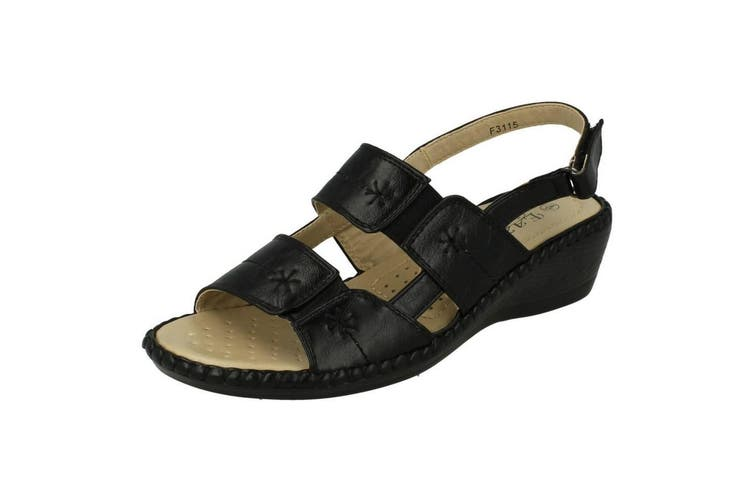 Eaze Womens/Ladies Open Toe Sandals (Black) (5 UK)