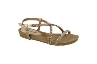 Leather Collection Womens/Ladies Diamante Cross Strap Sandals (Pink) (5 UK)