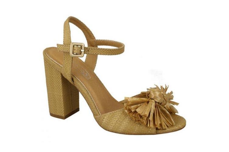 Spot On Womens/Ladies Chunky Heel Fringe Bow Sandal (Camel) (5 UK)