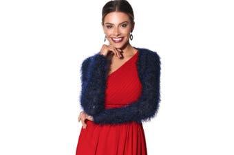 Krisp Womens/Ladies Lurex Eyelash Knitted Bolero (Blue) (XS/S)