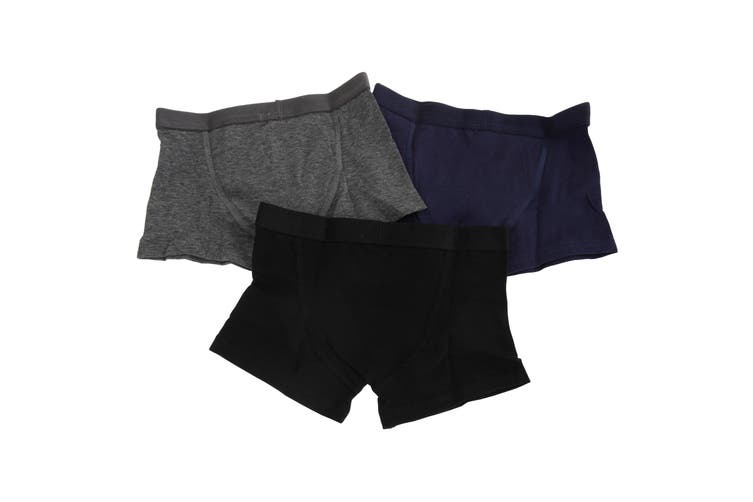 Kids By Tom Franks Boys Cotton Trunks (Pack Of 3) (Black/Navy/Grey) (2/3 Years)