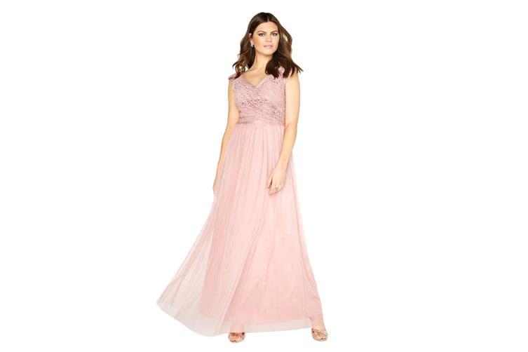 Little Mistress Womens/Ladies Wrap Over Lace Maxi Dress (Rose Pink) (12 UK)