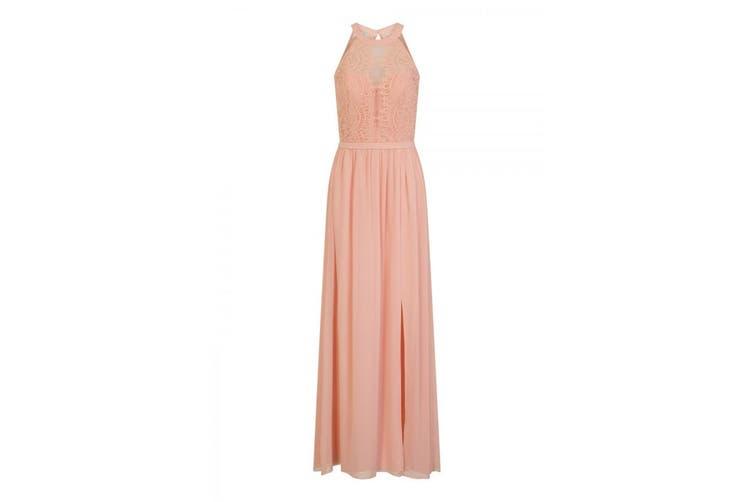 Little Mistress Womens/Ladies Halterneck Eyelash Lace Maxi Dress (Pink) (14)