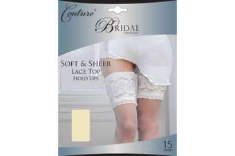 Couture Womens/Ladies Bridal Soft & Sheer Lace Top Hold Ups (1 Pair) (Ivory) - UTLW128